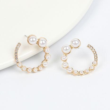 Boucles d'oreilles en or cuivre et perles en forme de C en gros NHRN240973's discount tags