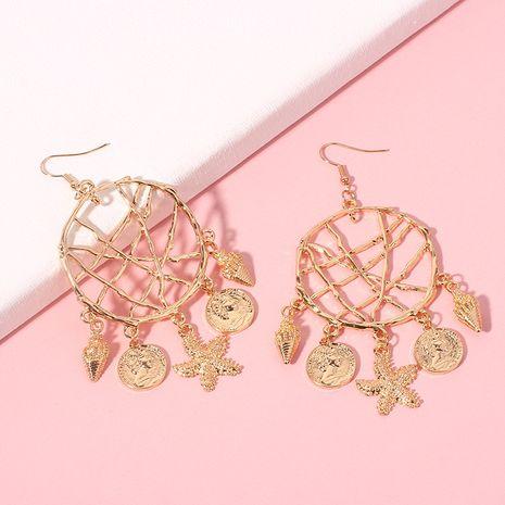 Boucles d'oreilles en alliage pendentif étoile de mer conque géométrique exagérée grand cercle pour femmes NHRN240978's discount tags