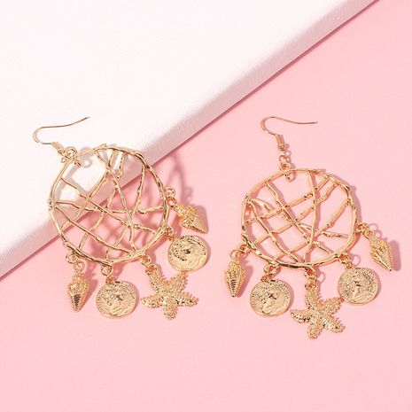 Exaggerated geometric big circle fashion conch starfish pendant alloy earrings for women NHRN240978's discount tags