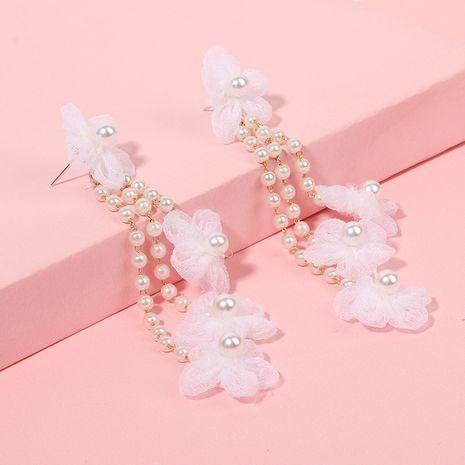 pendientes de borla de perlas de flor de flor de gasa nihaojewelry al por mayor NHRN240979's discount tags
