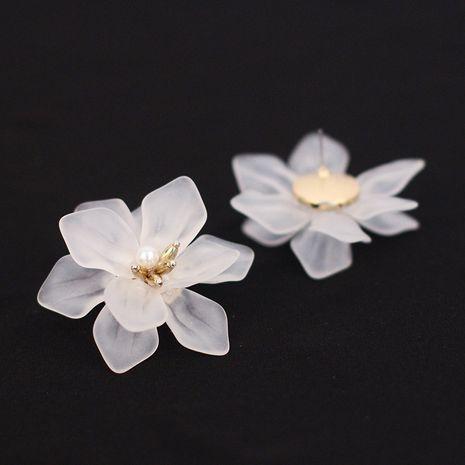 Korea white frosted resin flower bohemian style earrings wholesale nihaojewelry NHRN240980's discount tags