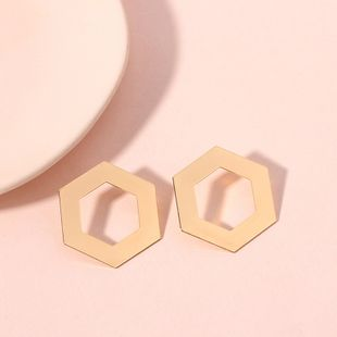 new simple and fashionable hexagonal hollow creative popular earrings accessories wholesale nihaojewelry NHRN240981's discount tags