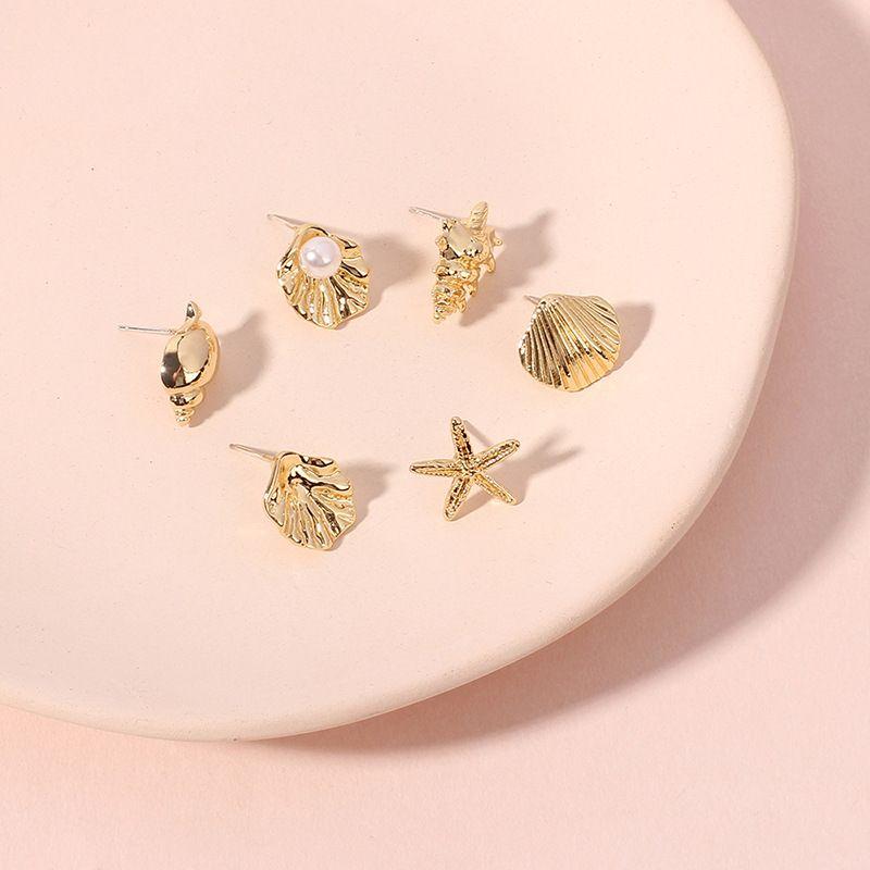 creative starfish shell pearl earrings marine series small earrings wholesale nihaojewelry NHRN240984