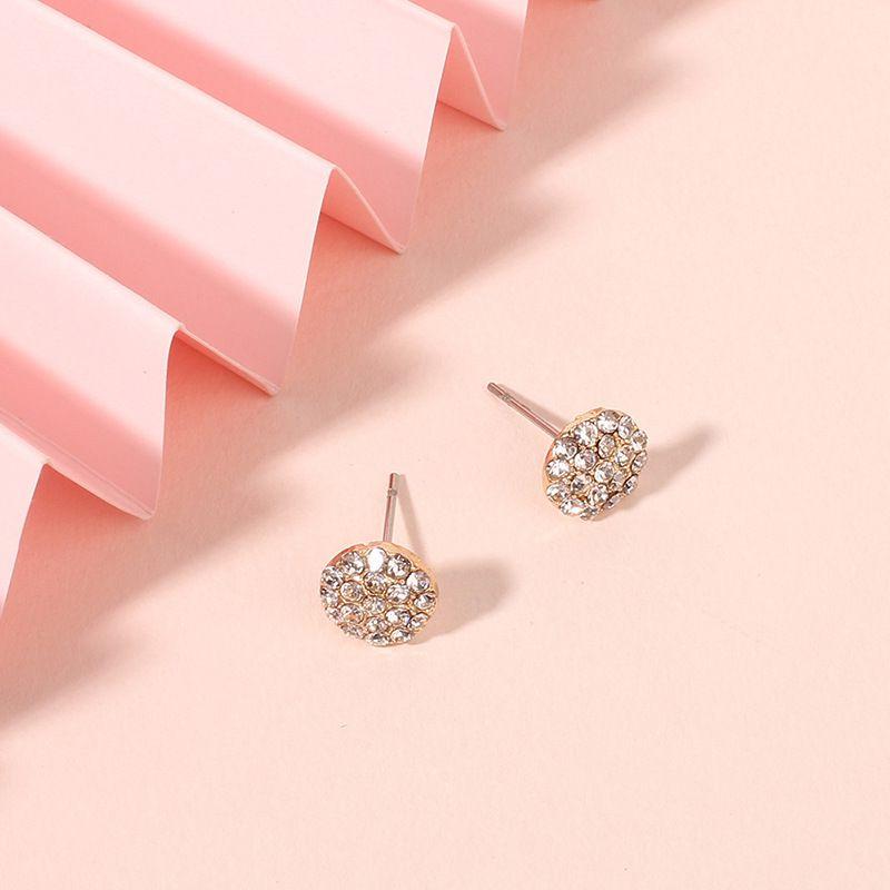 Fashion design jewelry simple geometric round rhinestone Korean wild alloy women's earrings NHRN240986