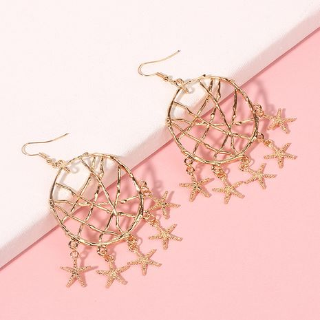Fashion Starfish pendant exaggerated geometric circle trend earrings for women NHRN240989's discount tags