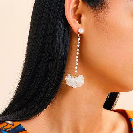 bohemian pearl long tassel earrings  Korea flower earrings wholesale nihaojewelry NHRN240991's discount tags