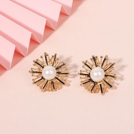 Fashion design jewelry alloy dandelion boho style flower pearl earrings for women NHRN240994's discount tags