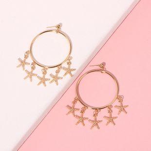 Fashion starfish pendant beach  seaside vacation exaggerated geometric circle alloy earrings NHRN240995's discount tags
