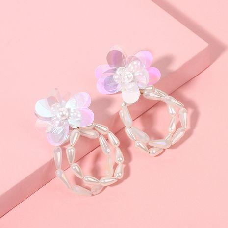 glass flower earrings Korean simple geometric circle pearl earrings wholesale nihaojewelry NHRN241000's discount tags