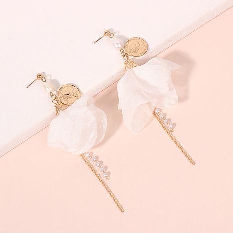 Pendientes de borla de perlas largas simples pendientes de flores de verano al por mayor nihaojewelry NHRN241001's discount tags