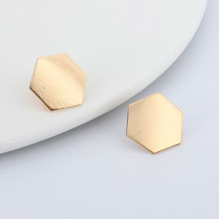 Fashion hot-selling jewelry geometric polygonal copper metal smooth brushed earrings NHRN241006's discount tags