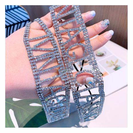 estilo original hecho a mano de diamantes completos letras inglesas elástico elástico banda para el cabello al por mayor NHHD241011's discount tags
