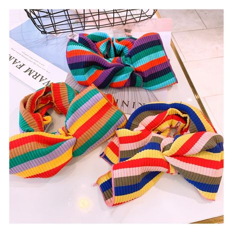 Korea fashion wide-brimmed big bow knot variety rainbow knitted striped hair lead band for women NHHD241020's discount tags