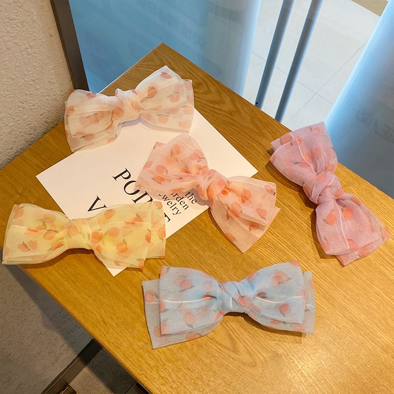 Chiffon big bow hairpin top clip sweet spring clip peach hairpin wholesale NHNA241025
