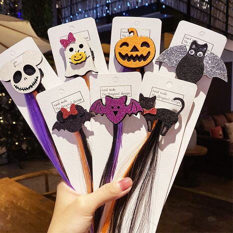 Halloween Wig Dress Up Hairpin Headdress Duckbill Clip Bat Pumpkin Hairpin wholesale NHNA241028's discount tags