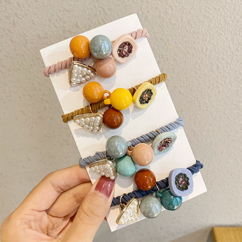 Simple candy color ball pearl head rope headdress tie hair rubber band wholesale nihaojewelry NHNA241029