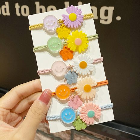 daisy hair rope small flower smiling face hair scrunchies band knotted head rope wholesale nihaojewelry NHNA241030's discount tags