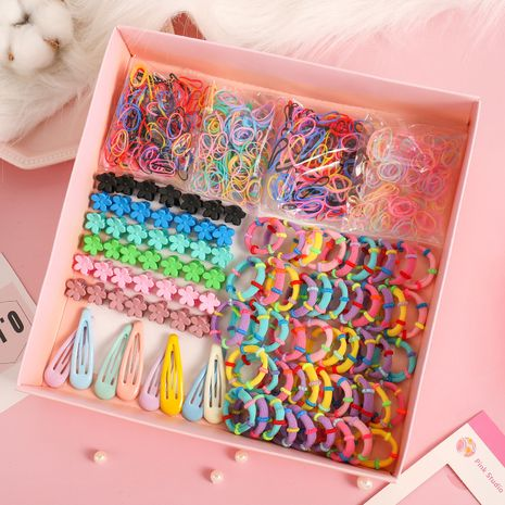 Korean children's simple hair clip head rope box set baby floret clip hair rope rubber band wholesale NHNA241043's discount tags