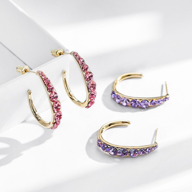 925 silver needle large circle exaggerated fashion new trend shine earrings wholesale nihaojewelry NHPP241068