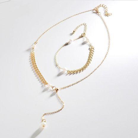 Versión coreana del collar de perlas de nicho de aleación de venta caliente cadena de clavícula de oreja de trigo sexy NHDP240735's discount tags