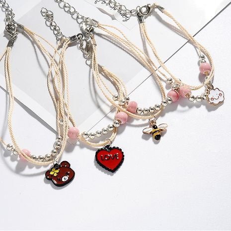 New cartoon cute multi-layer animal student hand ornaments simple bracelet for couple hand rope wholesale NHDP240737's discount tags