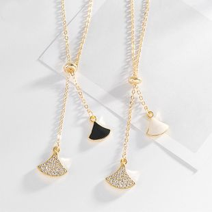 Korean version of the small skirt sweet wild fan-shaped clavicle chain mother-of-pearl pendant women's necklace NHDP240741's discount tags
