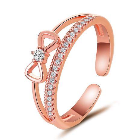 nouvelle bague en arc double couche en zircon micro-incrusté bague ouverte en gros nihaojewelry NHDP240742's discount tags