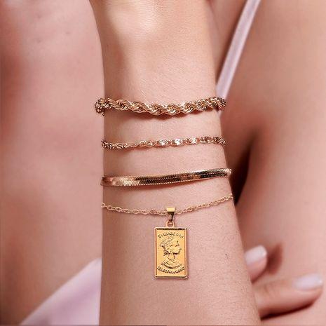 Vente chaude mode alliage torsion chaîne portrait pendentif bracelet de combinaison de quatre pièces pour femmes NHDP240755's discount tags