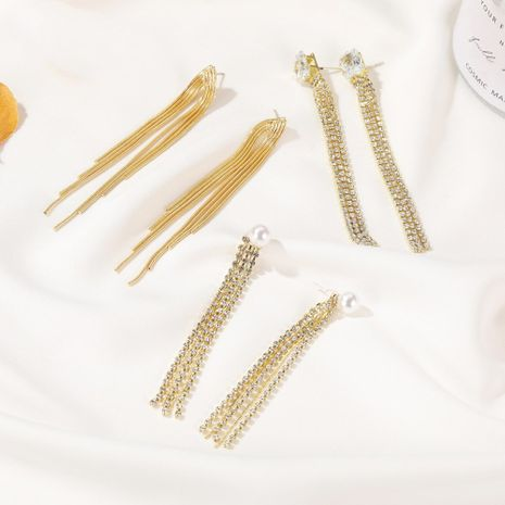 S925 long tassel alloy wild multi-layer Korean earrings for women wholesale NHDP240756's discount tags