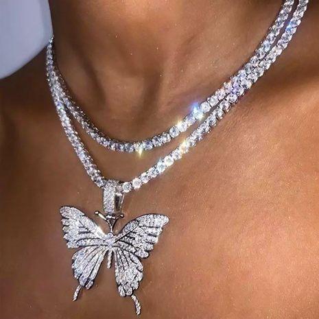 vente chaude papillon plein diamant monocouche chaîne de griffe alliage simple et polyvalent collier de chaîne de clavicule strass NHDP240757's discount tags