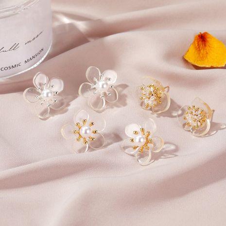 New sweet flower beautiful fairy pearl flower women's silver needle alloy earrings wholesale NHDP240759's discount tags
