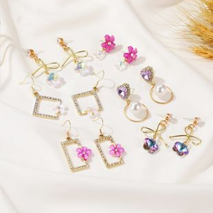 New Korean long flower gradient crystal sweet zircon bow earrings wholesale nihaojewelry NHDP240762's discount tags