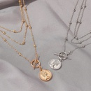 new necklace punk style portrait coin pendant hipster alloy long metal one word buckle multilayer necklace NHDP240766