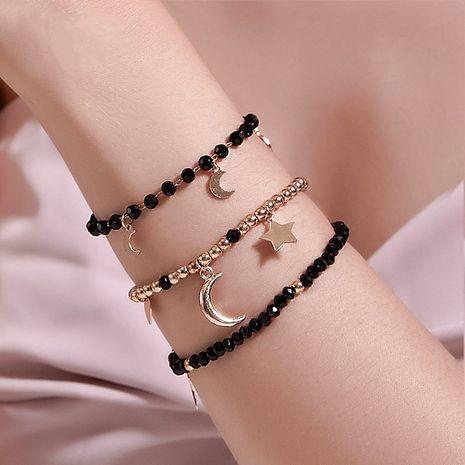 Mode trois pièces à la main noir perlé étoile lune bracelet tendance ensemble bijoux en gros NHDP240767's discount tags