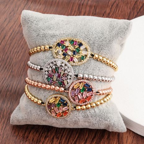 Fashion exquisite copper micro-inlaid color zircon hip-hop couple hand rope black rope bracelet for women NHJE241076's discount tags