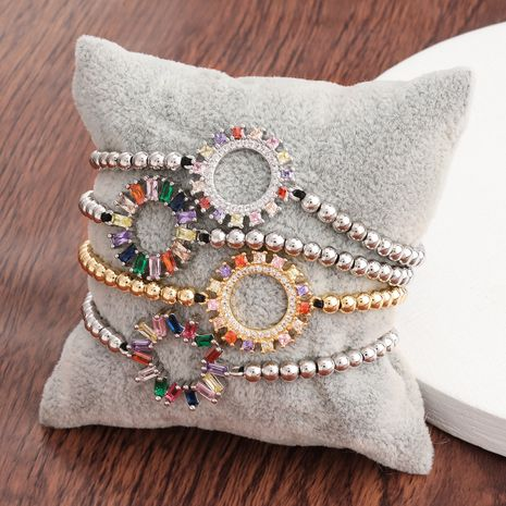 Fashion copper micro-inlaid color zircon round hip-hop couple bracelet for women jewelry NHJE241077's discount tags
