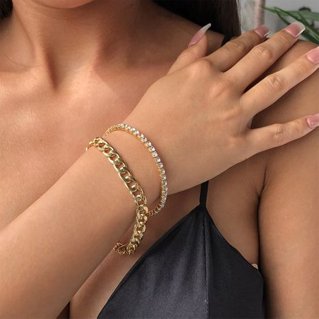 Fashion new style ladies exaggerated alloy thick gold bracelet hot sale wholesale NHMD241079's discount tags