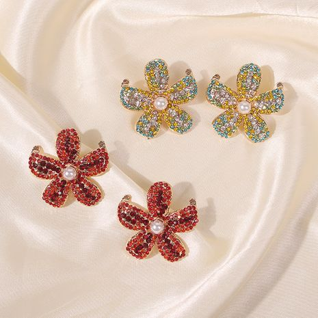 fashion trend flower  alloy drop oil inlaid pearl earrings wholesale nihaojewelry NHMD241082's discount tags