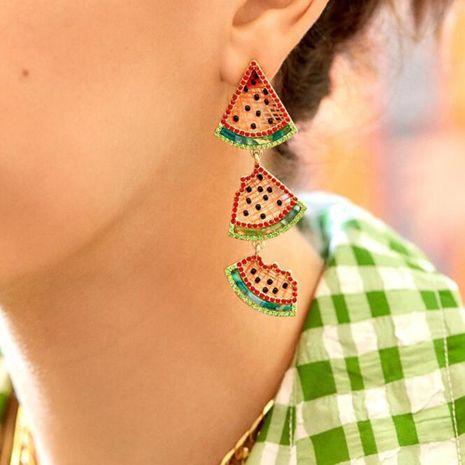 pendentif pastèque serti de diamants boucles d'oreilles fruits amusants en gros nihaojewelry NHMD241083's discount tags