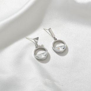 Alloy fashion asymmetric hollow round Korean wild S925 silver needle women's earrings wholesale NHBQ241087's discount tags