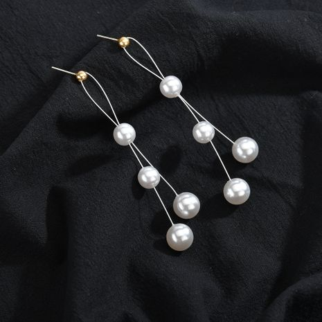 Fashion new trendy tassel exaggerated long women's pearl alloy earrings  NHBQ241089's discount tags