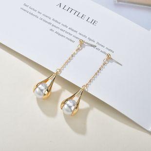 Korean pearl matt texture metal S925 silver needle  simple versatile long tassel earrings  NHBQ241090's discount tags