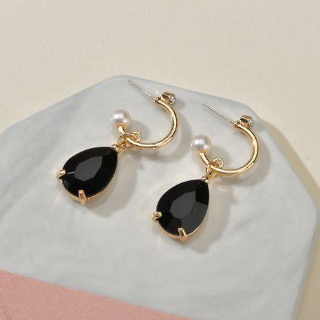 925 argent aiguille rétro baroque mode perle goutte noir diamant boucle d'oreille en gros nihaojewelry NHBQ241095's discount tags