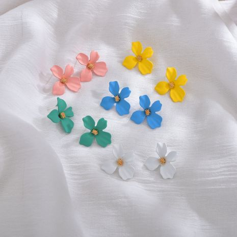 Flowers Sweet Color Petal Flower Show Face Thin Spray Paint alloy Earrings  NHBQ241096's discount tags