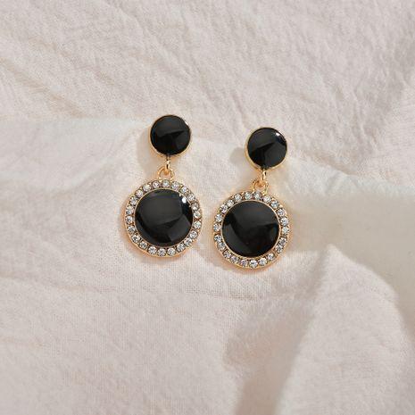 nouveau S925 argent boucles d'oreilles cercle noir boucles d'oreilles hypoallergéniques en gros nihaojewelry NHBQ241098's discount tags