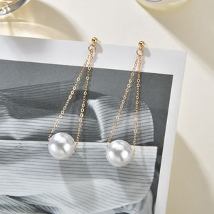 New Pearl Korean long simple hypoallergenic fashion trend earrings  NHBQ241103's discount tags