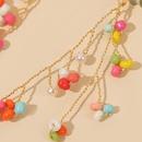 Trendy long tassel leaf handmade rice bead  cute woven resin earrings jewelry wholesale nihaojewelry NHLA241104