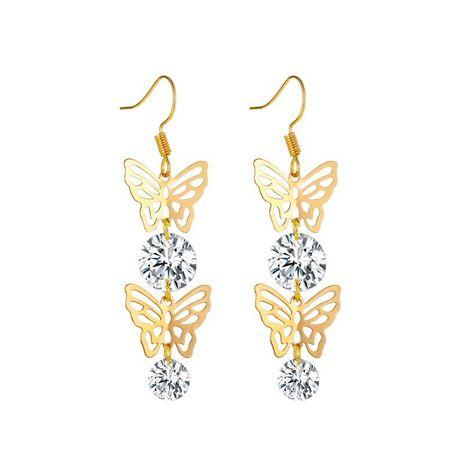 nouveau style longues boucles d'oreilles papillon zircon boucles d'oreilles papillon creuses créatives en gros nihaojewelry NHMO241108's discount tags