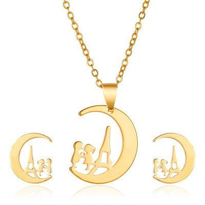 New  couple cartoon character moon alloy necklace earring set ornaments wholesale NHMO241119's discount tags