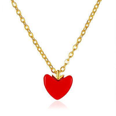nouveau coeur de pêche rouge amour sauvage doux petit pendentif coeur rouge collier pour femmes chaîne de la clavicule en gros NHMO241128's discount tags
